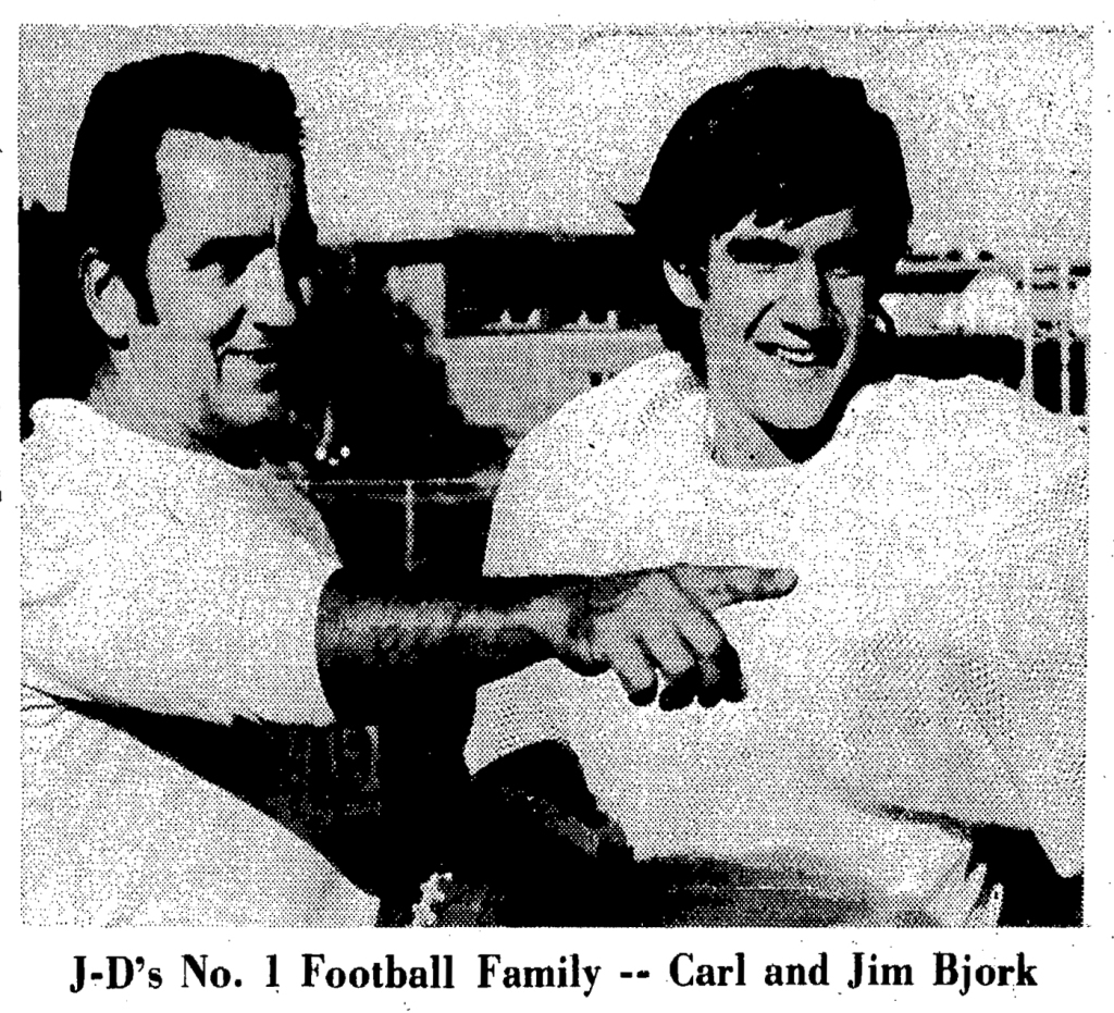 Carl R Bjork and QB son Jim newspaper story