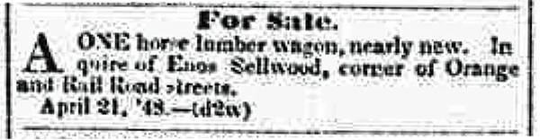 Enos wagon adv 1848 Syracuse NY Daily Star 21 Apr