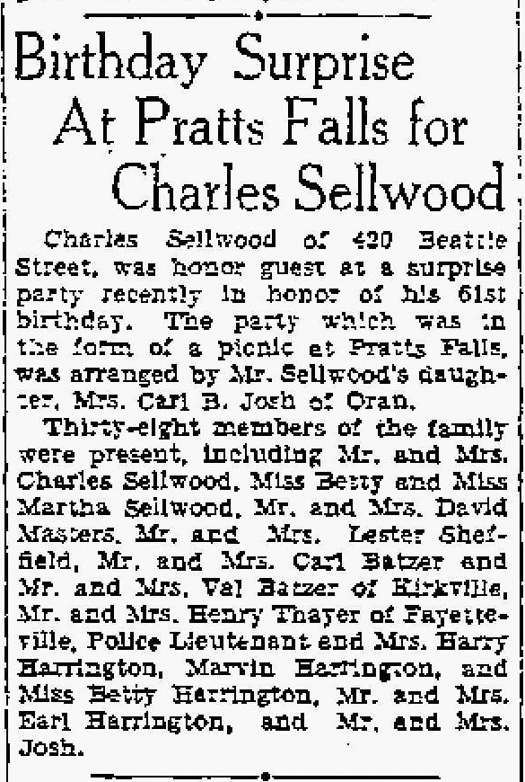 Birthday surprise for Charles Sellwood