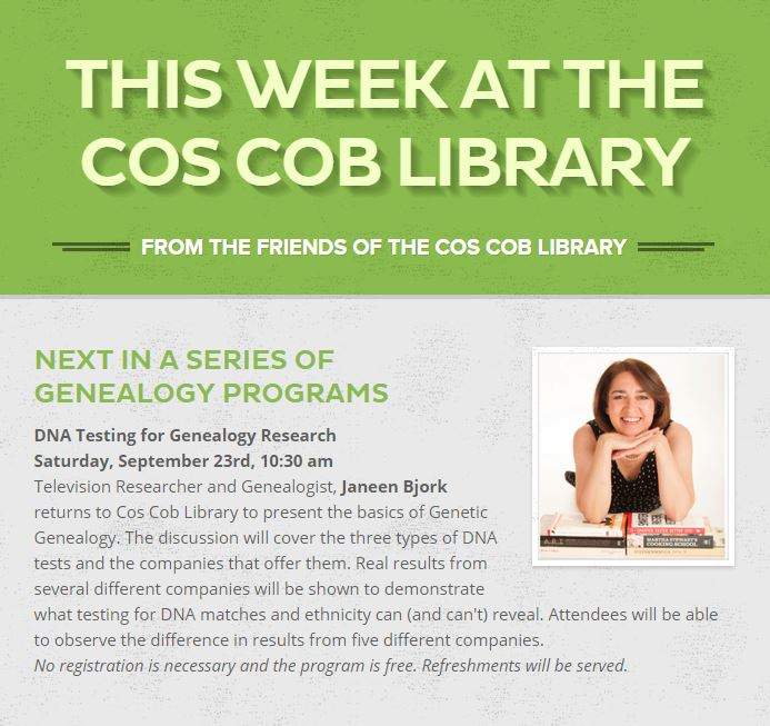 Cos Cob Library DNA Event
