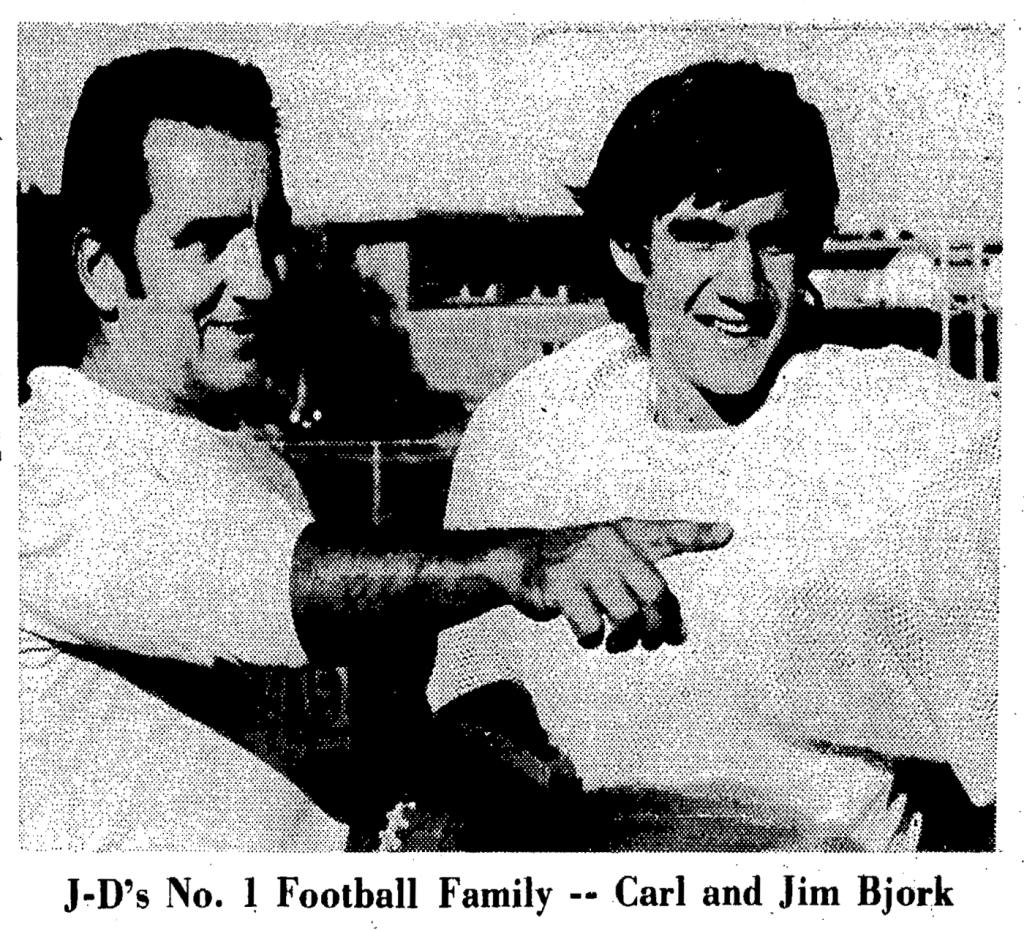 Carl R Bjork and QB son Jim newspaper story