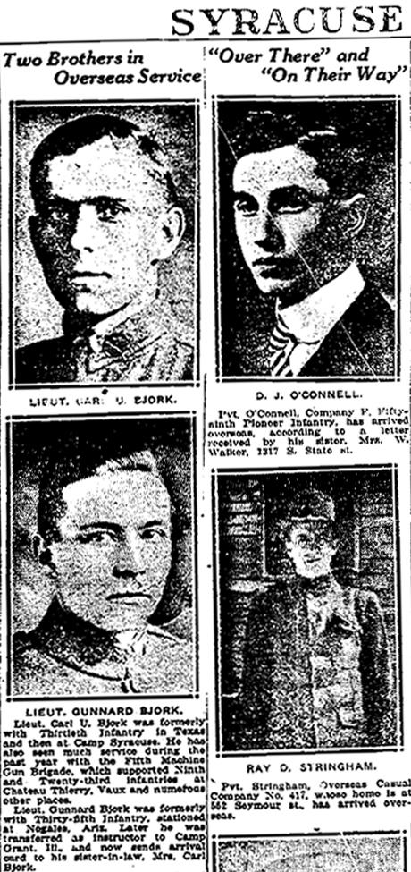 Carl U. and Gunnard Bjork Lieuts 1918