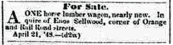 Enos wagon adv 1848 Syracuse NY Daily Star 21 Apr