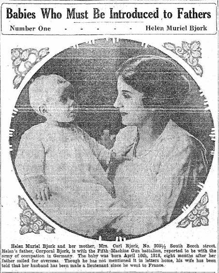 Laura and Helen Bjork 1918 Babies ancestry.com
