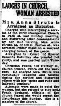 Anna Strutz causes church disturbance