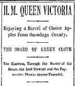 George Thorndill sends Queen Victoria Apples 13 Jan 1889