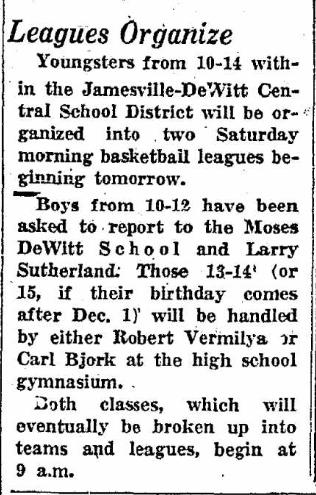 Bjork Vermilya Sutherland organize basketball 1957