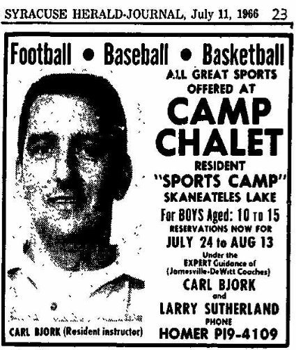 Carl Bjork Camp Chalet ad 1966