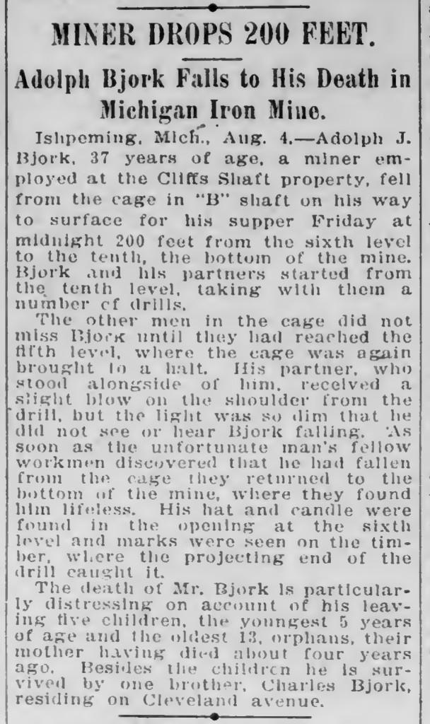 Adolph Bjork dies in Mich. Mine, Duluth Evening Herald 1908